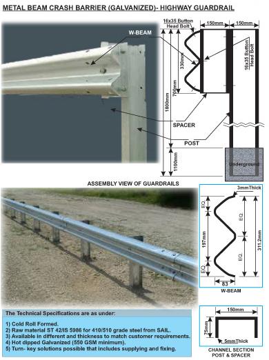 Metal W Beam Crash Barrier Railguard Wrought Cast Iron